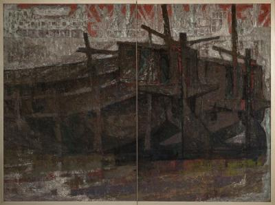Japanese Two Panel Screen Harbor Scene in Abstract Form