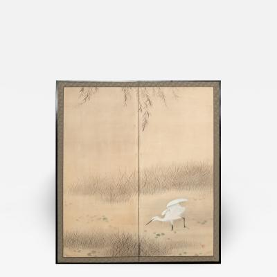 Japanese Two Panel Screen Heron In Water Lily Pond Under Willow