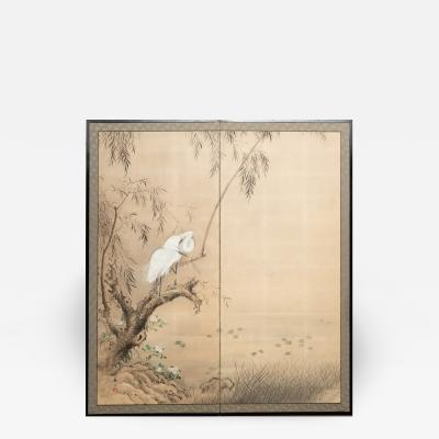 Japanese Two Panel Screen Herons in Willow by Water Lily Pond