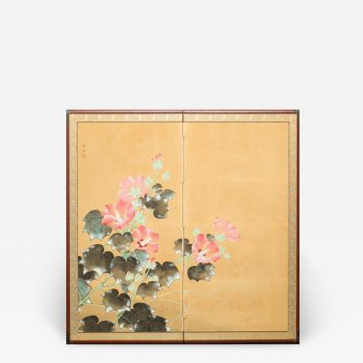 Japanese Two Panel Screen Hibiscus Flowers
