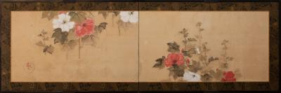 Japanese Two Panel Screen Hollyhocks