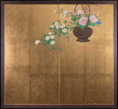 Japanese Two Panel Screen Ikebana on Gold