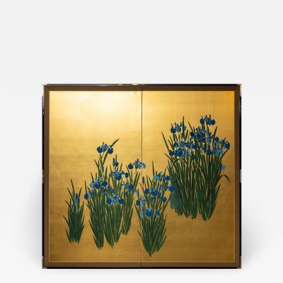 Japanese Two Panel Screen Irises on Gold