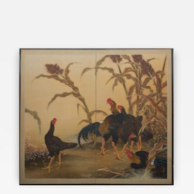 Japanese Two Panel Screen Japanese Chickens Shamo Breed in a Millet Grove