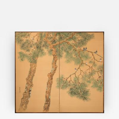 Japanese Two Panel Screen Japanese Red Pine Tree with Birds