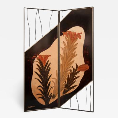 Japanese Two Panel Screen Lily Flowers In a Modern Setting