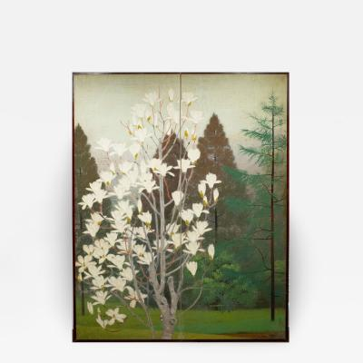 Japanese Two Panel Screen Magnolia Tree in Bloom