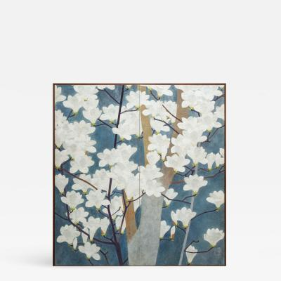 Japanese Two Panel Screen Magnolia in Bloom