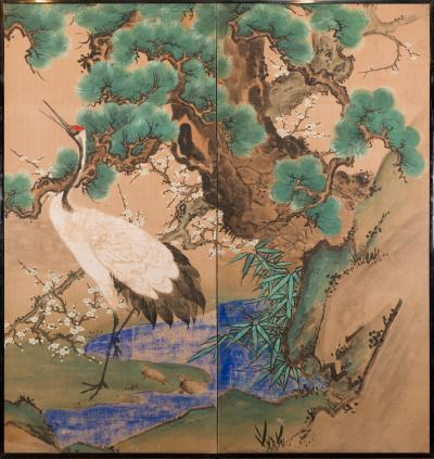 Japanese Two Panel Screen Manchurian Crane and Turtles