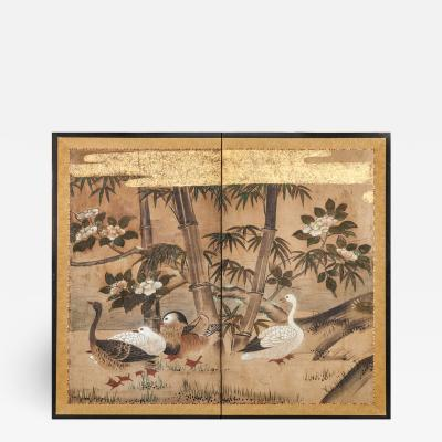 Japanese Two Panel Screen Mandarin Ducks and Geese Among Bamboo and Flowers