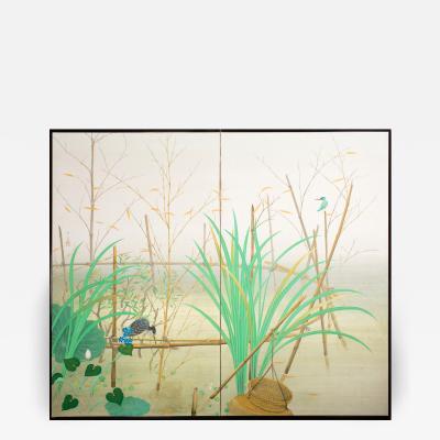 Japanese Two Panel Screen Marsh Flowers