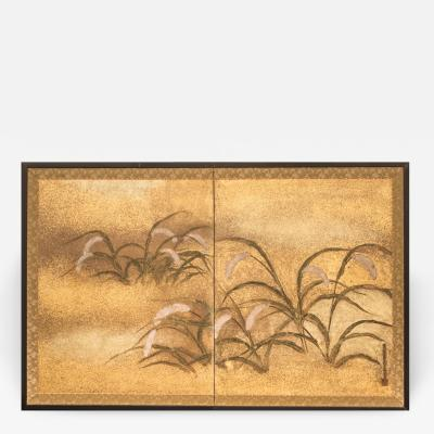 Japanese Two Panel Screen Millet Design with Gold Dust
