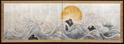 Japanese Two Panel Screen Moon Over Cresting Waves