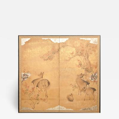 Japanese Two Panel Screen Nara Deer in Gentle Yoshino Landscape
