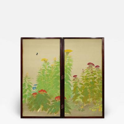 Japanese Two Panel Screen Nihonga Style Garden