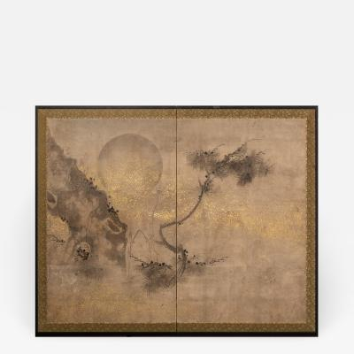 Japanese Two Panel Screen Old Pine and Moon