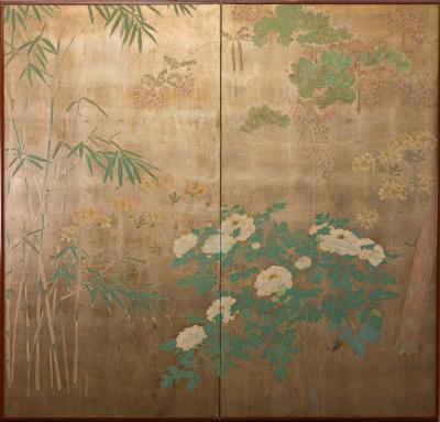 Japanese Two Panel Screen Peony Wisteria Cherry and Bamboo on Soft Silver