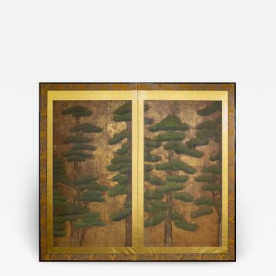 Japanese Two Panel Screen Pine with Gold Dust