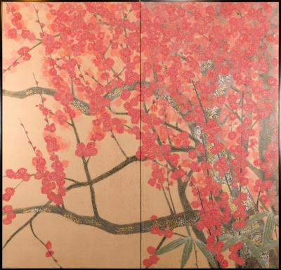 Japanese Two Panel Screen Red Plum Rare Obara Paper Art Screen
