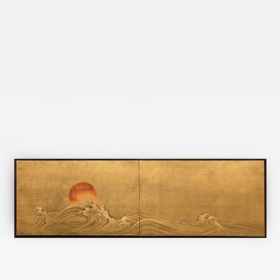 Japanese Two Panel Screen Red Sun and Waves on Gold Leaf