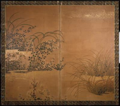 Japanese Two Panel Screen Rimpa Floral Landscape