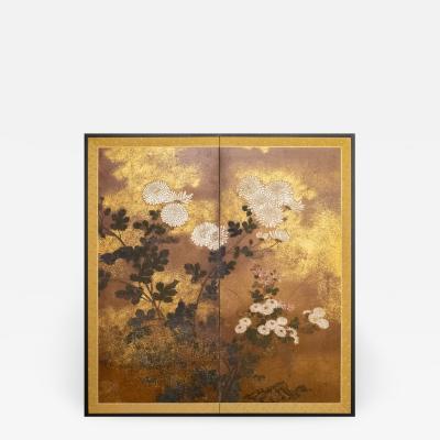 Japanese Two Panel Screen Rimpa Painting of Chrysanthemums