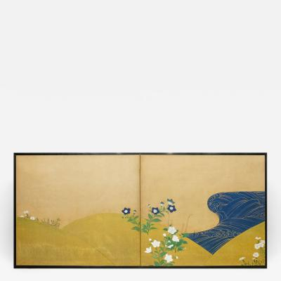 Japanese Two Panel Screen Rimpa and Deco Style Painting of Flowers by Stream