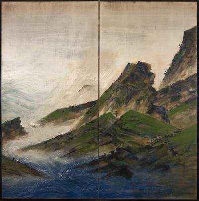 Japanese Two Panel Screen Rocky Coastal Landscape on Silver