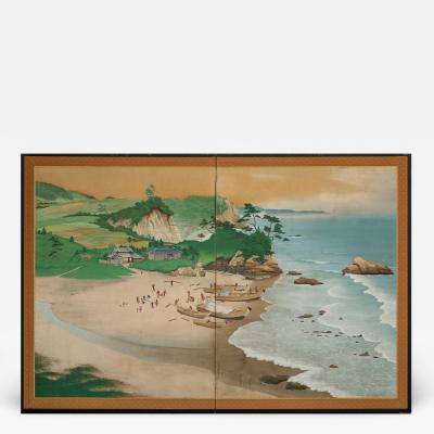 Japanese Two Panel Screen Scene from Ainu Fishing Village Northern Hokkaido