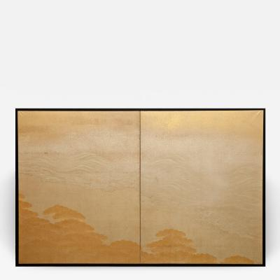 Japanese Two Panel Screen Seaside