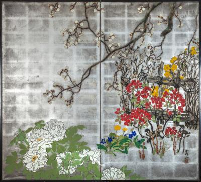 Japanese Two Panel Screen Spring Flowers on Silver