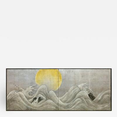 Japanese Two Panel Screen Stylized Waves on Silver Leaf and Golden Sun