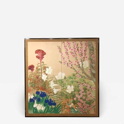 Japanese Two Panel Screen Summer Flowers