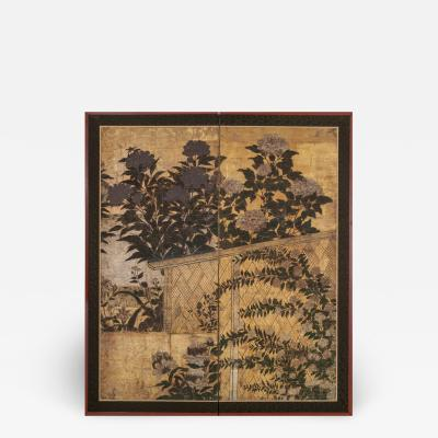Japanese Two Panel Screen Summer Flowers in a Garden Setting