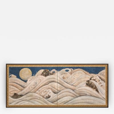 Japanese Two Panel Screen Turbulent Seascape with Moon