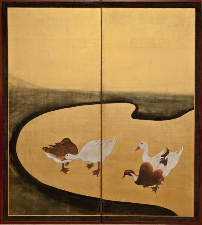 Japanese Two Panel Screen Water Fowl by River s Edge
