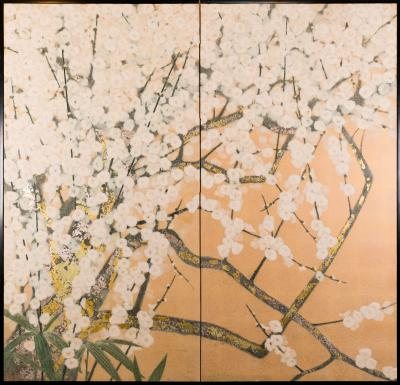 Japanese Two Panel Screen White Plum Rare Obara Paper Art Screen