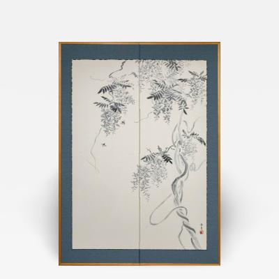 Japanese Two Panel Screen Wisteria Vine with Bees
