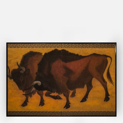 Japanese Two Panel Screen Yagyu Wild Ox