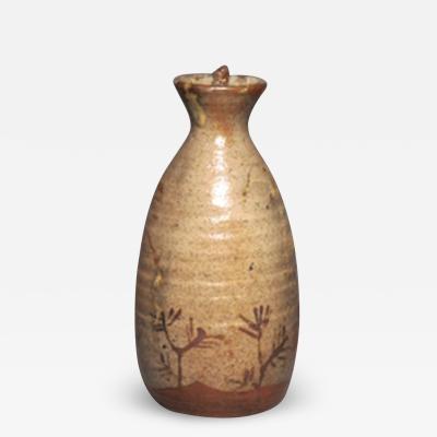 Japanese pottery wine bottle