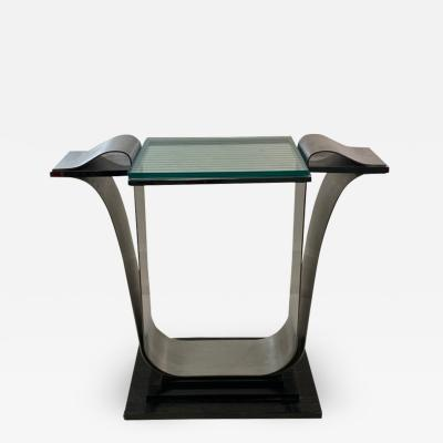 Jay Spectre ART DECO REVIVAL MODERNIST STEEL GLASS WOOD COSOLE TABLE BY JAY SPECTRE
