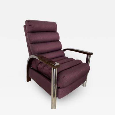 Jay Spectre American Modern Dark Oak and Chrome Eclipse Recliner Chair Jay Spectre