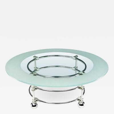 Jay Spectre Jay Spectre Art Deco Revival Chrome Aluminum and Glass Coffee Table