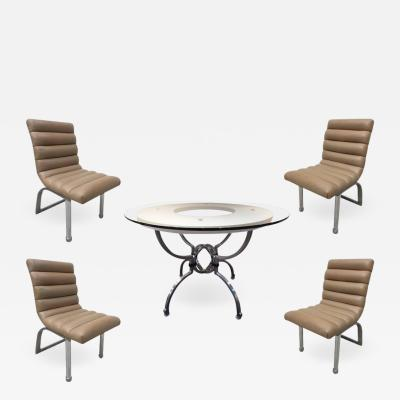 Jay Spectre Jay Spectre Eclipse Dining Set Table with Four Leather Chairs