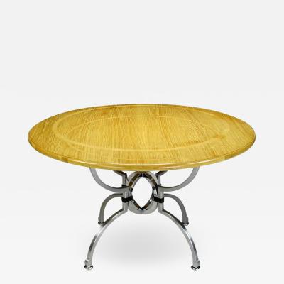Jay Spectre Jay Spectre Eclipse Dining Table in White Oak and Steel
