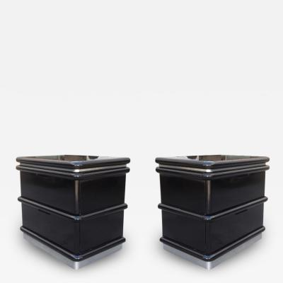 Jay Spectre Jay Spectre Nightstands in Black Lacquer and Brushed Chrome Plinth