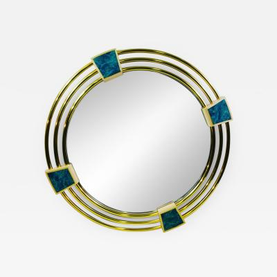 Jay Spectre MONUMENTAL MODERN TRIPLE BRASS RING MIRROR WITH LAPIS LAZULI ENAMEL MIRROR