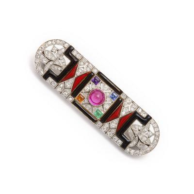 Jazz Age Jeweled Brooch