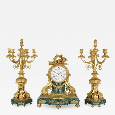 Jean Antoine L pine Antique French gilt bronze mounted malachite clock set