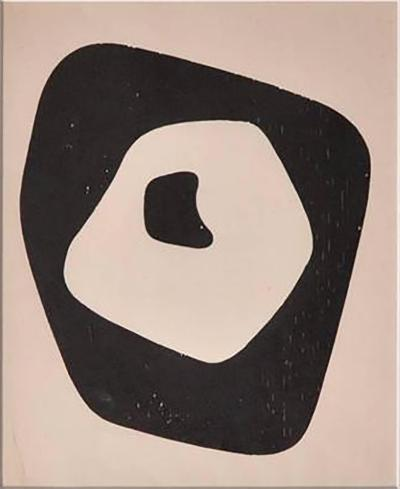 Jean Arp Silent Tension Woodcut Paris 1951 with Hand Signed Colophon